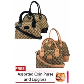 Harga Elena X-1607 Shoulder bag (Black and Apricot)With Free Coin Purse Assorted Design And Lipgloss
