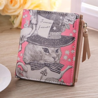 Harga Women Vintage Cat Coin Clip Purse Short Wallet Clutch Handbag Pink - intl