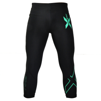 Compression Pants Muscle Containment Stamping 3/4 Compression Tights (Green) Price Philippines