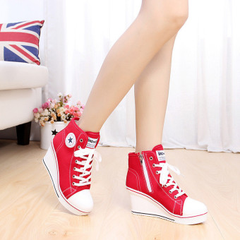 Women Girls Shoes High Top Wedge Heel shoes Lace Up Canvas Sneakers 8CM Height Price Philippines