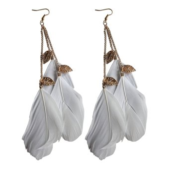 Jetting Buy Handmade Leaf Feather Long Drop Hook Earrings White Price Philippines