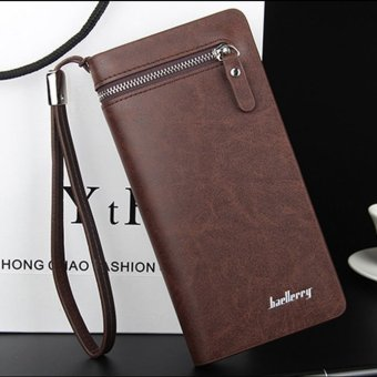 Baellerry brand wallet men long leather clutch big purse money bag strap vintage cellphone bag (Intl) Price Philippines
