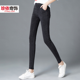 Imitation cowboy female thin outerwear pencil pants New style bottoming pants (Snowflake black)