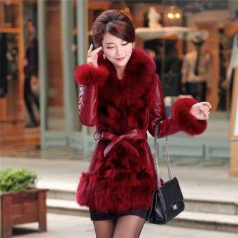 Imitation Fur female New style winter down jacket (6627 red behind the cuff with hair)