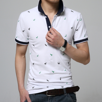 In summer men's T-shirt POLO Shirt Mens Shirt slim youth tide halfsleeve shirt (white)