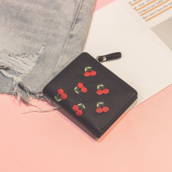 Indie embroidered female mini coin purse small wallet (Black)