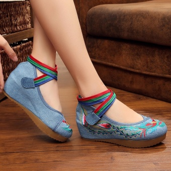 Indoor Outdoor Shoes for Women Lady Girls 2017 Embroidered FabricFashion Heighten Shoes Spring Flat Casual Running Shoes - intl - 2