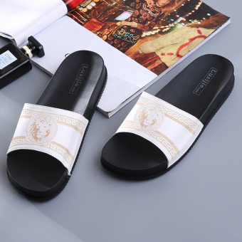 Indoor simple plastic men home sandals and slippers home slippers (White)