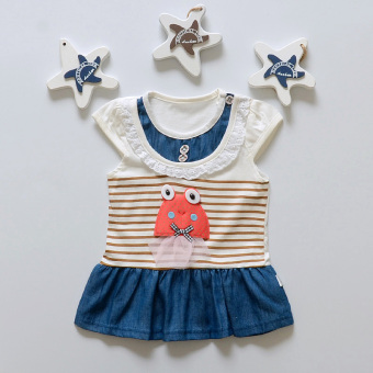 Infants short sleeved dress Korean-style casual dress (Fish skirt-brown)