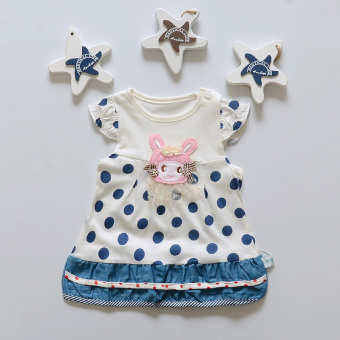 Infants short sleeved dress Korean-style casual dress (Small girl's skirt-blue)