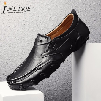 Inlike cow Genuine leather slip-on &Loafers fashion casual shoes for men driving shoe JW203