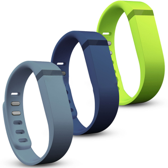 inmax 3Pcs/set Large Size Replacement Silicon Wrist Band w/ Clasp For Fitbit Flex Bracelet(Slate+Navy+Lime) - intl