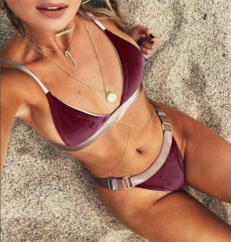 INS in Europe and America with the money New style Spell color bikini (Wine red color)