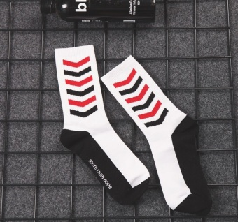 INS Japanese-style cotton oblique striped tube long socks (White)
