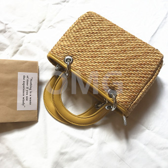 INS retro hot selling straw shoulder bag handmade woven bag (Yellow)