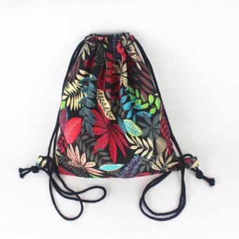 International Gym Drawstring Backpack Canvas Beach Draw String Bucket Bag Travelshoulder Bags Red - intl
