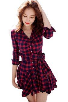 Irregular Hem Checkered Long Sleeve Mini Dress (Red/Black) - 2
