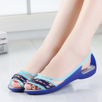 ISA Beach flat Shishang sandals candy colored sandals (Dark blue color)