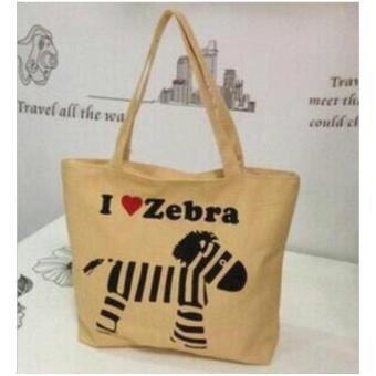 Isabel K001 Trendy Canvas Tote Bag Buy 1 Take 1 (Zebra) - 2