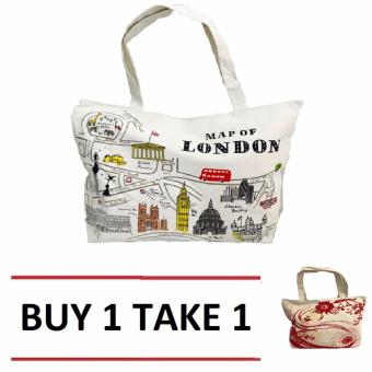Isabel K001 Trendy Canvas Tote Bag (Map of London) Price Philippines