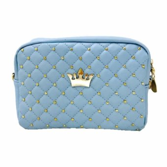 Isabel K024 Trendy Quilted Shoulder Crossbody Bag (Blue)