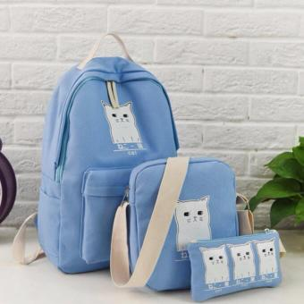 Isabel K064 Korean backpack with Sling Bag and Pouch (Blue)