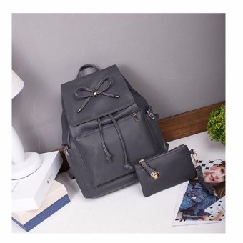 Isabel K065 Stylish Backpack with Matching Pouch (Gray)
