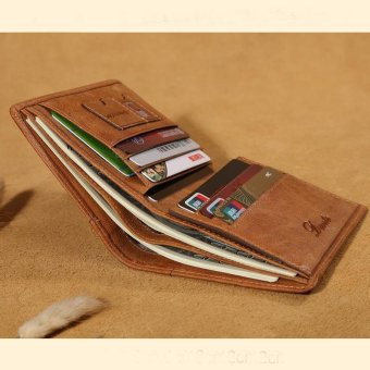Italian Mens Wallet 100% Genuine Cow Leather Credit Cards Money Holder (Brown) - intl