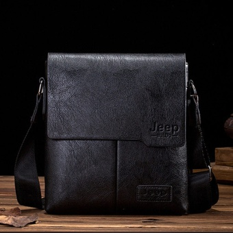J E E P Buluo Messenger Bag Jeep Leather Briefcase Shoulder Bag Unisex Working Briefcase Leather Sling Bag Daypack - intl