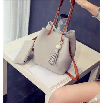 J&J Korean 2 in 1 Bucket Bag and Make up Pouch Sling Bag - Grey