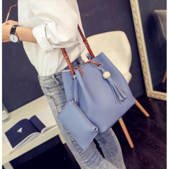 J&J Korean 2 in 1 Bucket Bag and Make up Pouch Sling Bag - PowderBlue