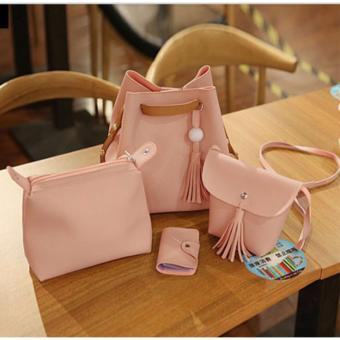 J&J Korean 4 in 1 Bucket Bag and Make up Pouch Sling Bag - Pink