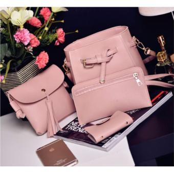 J&J Korean Bag 4 in 1 Women Bags Korean Stylish Design Sling Bag Set - Pink