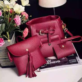 J&J Korean Bag 4 in 1 Women Bags Korean Stylish Design Sling Bag Set - Red