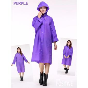 J&J Portable Unisex EVA Fashion Clear Thicken Rain Coat -Purple