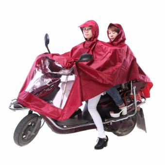 J&J Universal Motorcycle Double Rain Coat - Red with FREE1 of Men and Women's Disposable Raincoat Ball With Keyring - 2