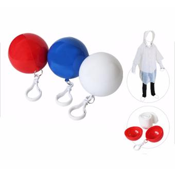 J&J Universal Motorcycle Double Rain Coat - Red with FREE1 of Men and Women's Disposable Raincoat Ball With Keyring - 4