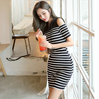 Jane according to small fresh New style student off-the-shoulder casual dress (Black)