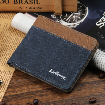 Japan and South Korea cowboy Youth Student three fold leather wallet men's short wallet (2 fold blue no zip Grid)