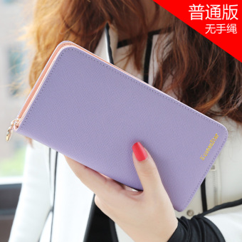 Japan and South Korea female zip student clutch bag women's wallet (Purple)