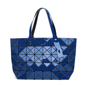 Japan and South Korea laser bag geometric shoulder Portable Bag women's bag (7*8 sapphire blue High Version)