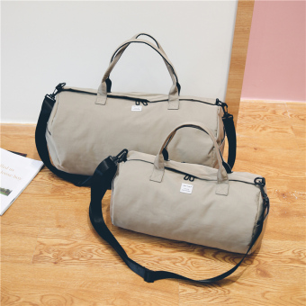 Japan and South Korea men and women large capacity yoga canvas shoulder bag travel bag (Gray small)
