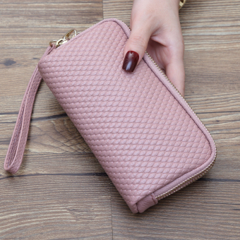 Japan and South Korea New style purse bag long women's wallet (Lotus pink)