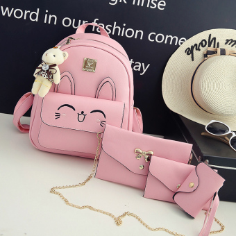 Japanese and Korean style New style female backpack women's bag shoulder bag (Ears pink color 4 sets)