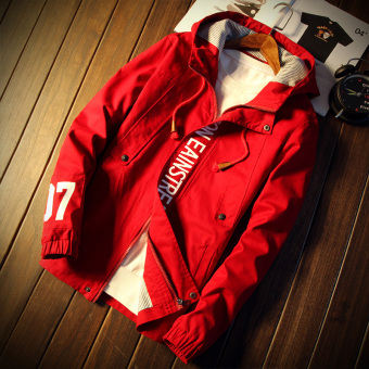 Japanese-style autumn hooded Print jacket shirt (Red)