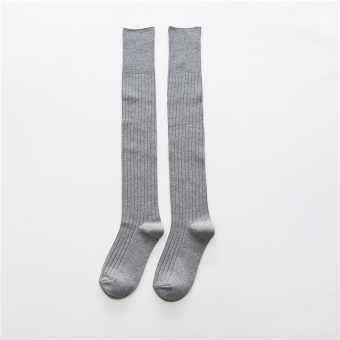 Japanese-style cotton autumn long leg socks-and knee socks (Light gray color)