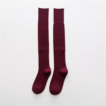 Japanese-style cotton autumn long leg socks-and knee socks (Wine red color)