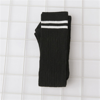 Japanese-style cotton autumn student barreled socks knee socks (Black)