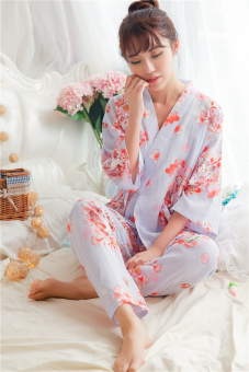Japanese-style cotton gauze cherry rabbit kimono pajamas (Pants suit-purple meow) (Pants suit-purple meow)