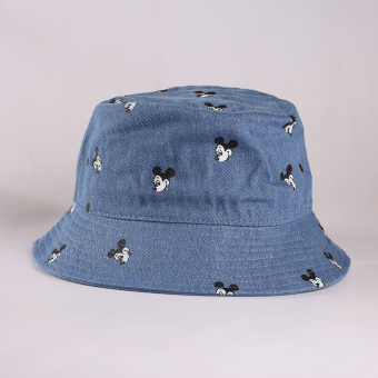 Japanese-style cowboy men and women fisherman hat bucket hat (Cowboy blue-Mickey Mouse)